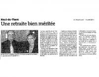 Est Républicain du 11 avril 2011 – Départ en retraite de Bernadette Lamboley, secrétaire de mairie