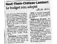Est Républicain du 29 avril 2011 – Budget 2011